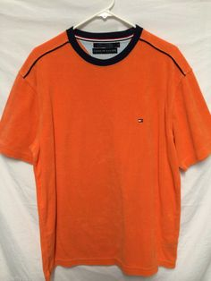 TOMMY HILFIGER MENS LARGE TERRY GOLF BOAT SHIRT ORANGE CHEST LOGO