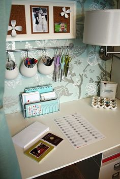 Organized Desk Area, pens etc hung on wall so accessible yet out of the way
