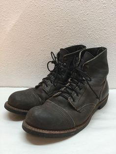 """Red Wing Iron Ranger 6"""" Charcoal Leather Cap Toe Boot Mens Size 8.5 D #RedWing #AnkleBoots"""