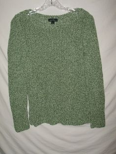 Lauren By Ralph Size Large Green Tweed Cotton Sweater A19 Laurenralphlauren