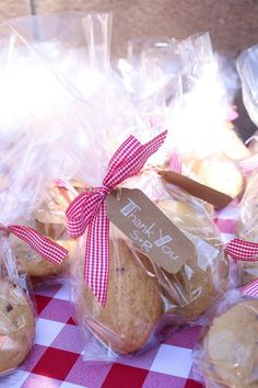 Cookie Favor Bags with Gingham Ribbon and Tags for BBQ Themed Party - Baby Q…