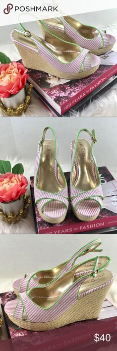 Lilly Pulitzer seersucker wedges Gorgeous pink and white seersucker wedges in excellent condition with slight marks that cannot be seen when wearing.  💚 Lime green patent leather trim 🧡 Gold derailing  💗 Woven straw wrapped heel Lilly Pulitzer Shoes Wedges
