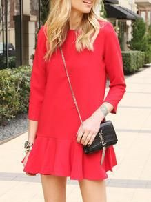 Crew Neck Flounce Dress at INR 2144/- from @zooomberg  #redhot #dresslove #casualdress #loveit