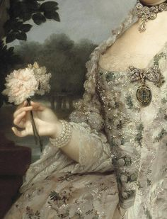 Detail, Maria Luisa of ParmaPrincess of Asturias, in the gardens of Aranjuez (ca. 1766), by Anton Raphael Mengs.