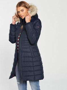Tommy Jeans Essential Hooded Down Coat - Black Iris Black Iris, Down Coat, Latest Fashion, Hoods, Winter Jackets, Jeans, Shopping, Yule, Cowls