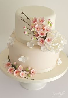 Cherry Blossom cake by janell - Hochzeitstorte - Cake Design Elegant Wedding Cakes, Beautiful Wedding Cakes, Gorgeous Cakes, Wedding Cake Designs, Pretty Cakes, Amazing Cakes, Trendy Wedding, Wedding App, Beautiful Cake Designs