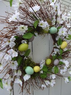 Easter wreath easter egg wreath easter gift free shipping easter easter wreath easter egg wreath twig wreath spring and summer wreath front door wreath easter gift dogwood wreath clearance priced negle Gallery