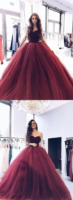 Burgundy Sweetheart Long Prom Dress with Beaded Bodice,Burgundy Tulle Formal Gowns