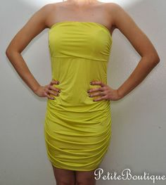 ARDEN B NEON LIME GREEN ROUCHED TUBE DRESS CUTOUT BACK STRAPLESS SIZE S  http://cgi.ebay.com/ws/eBayISAPI.dll?ViewItem=271140498706