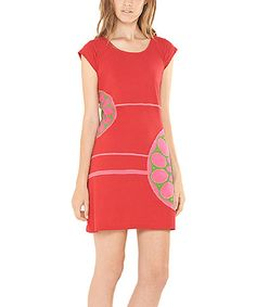 This Red Appliqué Short-Sleeve Dress is perfect! #zulilyfinds