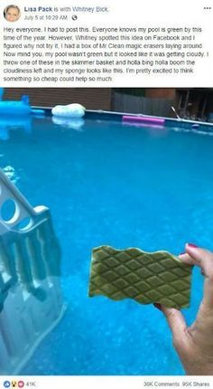 Grandma's Pool Cleaning Hack Goes Viral - Because It Actually Works Wonders. Finally, baking soda will keep your pool tiles clean, but that's not all. A pound of baking soda works just like a pound of alkalinity product, but usually costs much less. Pool Cleaning Tips, Cleaning Hacks, Piscina Diy, Skimmer Pool, Pool Care, Pool Hacks, Cleaning Painted Walls, Cool Pools, In Ground Pools