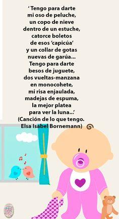 Un precioso poema de #ElsaBornemann para enseñar a compartir a los más peques 😏 #poesías #poesíasinfantiles #valores #poesíasconvalores Lullaby Songs, Baby Lullabies, Baby Learning, Bb, Preschool, Words, Kids Songs, Texts, Nursery Rhymes Lyrics