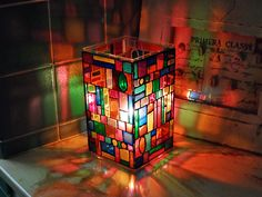 This could look cool, but maybe too crazy?? || Faux Stained Glass Mosaic Luminary by @amandaformaro - Crafts by Amanda