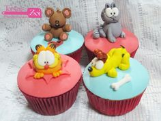Cupcakes Garfield Garfield Cake, Garfield Birthday, Sweet Cupcakes, Themed Cupcakes, Cake Toppers, Cookies, Cake Ideas, Image Search, Desserts