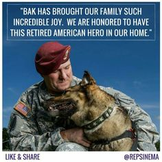 """We introduced the Military Working Dog Retirement Act for these four-legged veterans like Bak.""  from Congresswoman Kyrsten Sinema's Facebook page"