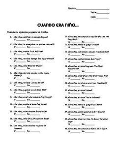 Get your students thinking about the imperfect tense with this engaging survey! Students will have fun reminiscing about their childhood with these questions. Expansion: Have students interview their partners and record their responses as well as their Spanish Worksheets, Spanish Games, Spanish 1, Spanish Activities, Class Activities, How To Speak Spanish, High School Spanish, Spanish Teacher, Spanish Classroom