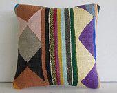 "16""Turkish cushion black brown green purple colorful striped decorative throw pillow kilim pillow cover decorative pillow accent pillow sham"