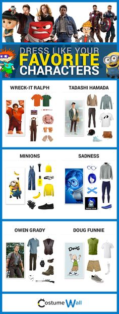Dress like your favorite movie, video game, and TV characters. Get costume and cosplay inspiration from Costume Wall.