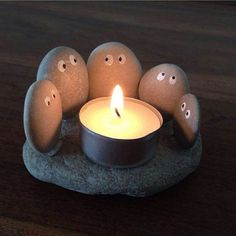 Cute River Rock Candle Holder