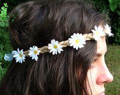 White Daisy Flower Crown, Flower Headband, Twine Headband, White Daisies