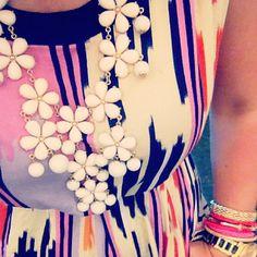 ikat dress + white flower necklace