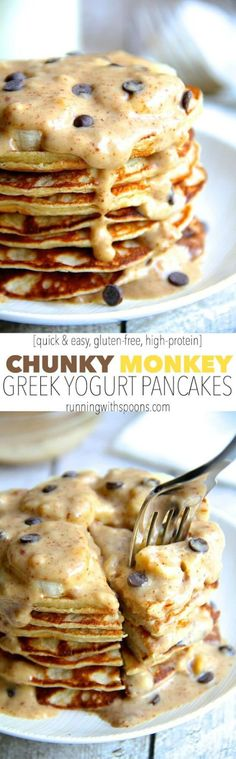 Gluten-Free Chunky Monkey Greek Yogurt Pancakes Recipe