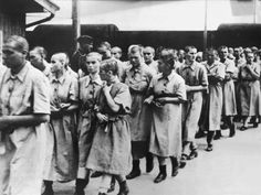 Female prisoners in Auschwitz. On April 6, 1944 soldiers raided a Jewish childrens home in Izieu, France. 41 children in the age of 3 to 13 died a few days later in the gaschambers of Auschwitz. The raid was ordered by Klaus Barbie.