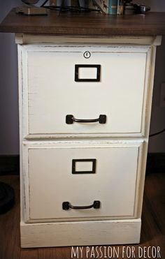 wood trimmed filing cabinet makeover diy tutorial stenciling and upcycle