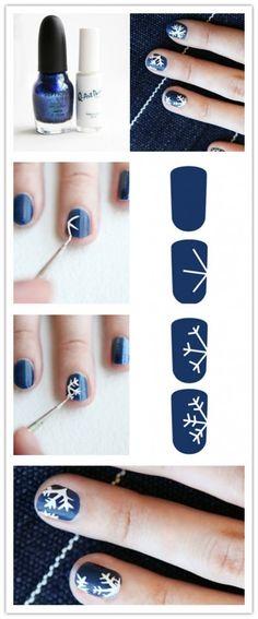 DIY Snow Flake Nails nails diy craft nail art nail trends diy nails diy nail art easy craft diy nail tutorial easy craft ideas