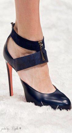 Shoes At Milan Fashion Week Fall Winter 2014 2015 Blumarine Dark Blue Ankle Strap Sandal Fall 2014 Stilettos, Pumps, Stiletto Heels, High Heels, Black Heels, Navy Heels, Hot Shoes, Crazy Shoes, Me Too Shoes