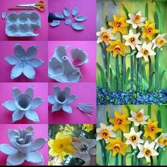 Flowers made with egg box
