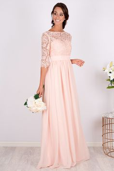 Anabella Lace Sleeved Bridesmaid Dress - Custom Made - Source by - Blush Bridesmaid Dresses Long, Blush Pink Dresses, Lace Dress With Sleeves, The Dress, Dress Lace, Maid Of Honour Dresses, Marie, Look, Free Shipping
