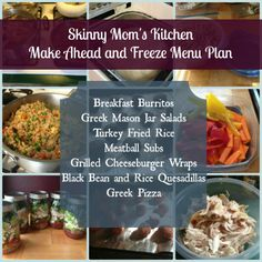 Skinny Mom's Kitchen make ahead and freeze menu plan. All recipes, nutritional information, and make ahead instructions included.