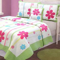 Aloha Girl's Multicolor Printed Cotton Pieced 3-piece Quilt Set | Overstock.com Shopping - The Best Deals on Kids' Quilts