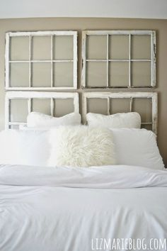 A new headboard by bedtime: 12 unusual & affordable diy headboard ideas bed headboard designs vintage, best 25 window pane headboard ideas old window. Antique Windows, Old Windows, Vintage Windows, Antique Frames, Window Pane Headboard, Window Panes, Window Pane Decor, Window Bed, Window Ideas