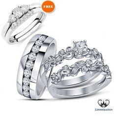 Simulated Diamond Trio Set White Gold Over Bridal Engagement Ring Wedding Band #2Jewelauction