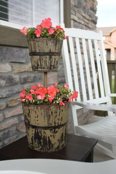 DIY Stacked Planter using a wooden dowel.