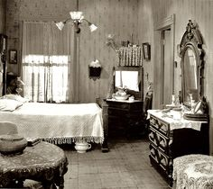 Guide To Discount Bedroom Furniture. Bedroom furnishings encompasses providing products such as chest of drawers, daybeds, fashion jewelry chests, headboards, highboys and night stands. 1920s Bedroom, Victorian Bedroom, Victorian Interiors, Vintage Interiors, Bedroom Decor, Bedroom Ideas, Shabby Bedroom, Bedroom Pictures, Mirror Bedroom