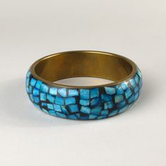 Vintage Brass & Turquoise Bangle