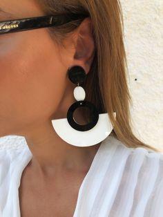 Hoop Earrings Boho Earrings Clip On Earrings Drop Earrings Leather Earrings, Etsy Earrings, Clip On Earrings, Earrings Handmade, Women's Earrings, Moon Jewelry, Heart Jewelry, Clay Jewelry, Circle Earrings