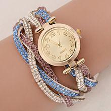 9 colors ladies luxury rhinestone wrap bracelet quartz wristwatches women dress watches relogio feminino 2014 montre femme WQ047(China (Mainland))