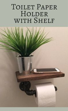I love this idea!!! Not sure if I'd put a plant there.. but it's a perfect little shelf to prop your phone or whatever else! Industrial Toilet Paper holder with shelf, plumbing pipe repurposed industrial decor, rustic bathroom decor, tp holder, rustic decor, farmhouse decor, farmhouse bathroom #ad