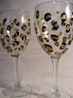 leopard print wine glasses birthday or wedding, bridesmaids, bachelorette or girls night out. $25.00, via Etsy.