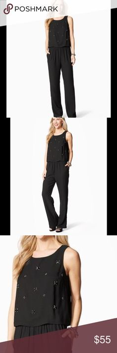 🎉1Day SALE🎉Beaded Popover Jumpsuit Awesome jumpsuit! Another beautiful piece I never got to wear before I lost weight. This pantsuit is so comfortable yet classy and chic enough to wear with heels to a wedding or flats for a day date in the fall. Beautiful floral beading detail. Pants Jumpsuits & Rompers