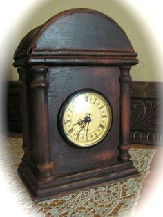 Desk clock mantle clock wood clock decorative by Mydaisy2000, $16.00