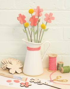 Our demonstrators will be providing tips and techniques all weekend on how to best decorate Birch wood. This is a sample of how to make your own flower bouquet! Wooden Shapes, Craft Materials, Craft Gifts, Birch, Create Your Own, Diys, Bouquet, Hacks, Colour