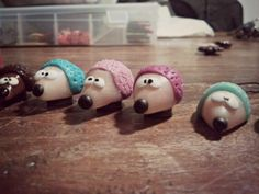 #teal #brown #pink #purple #polymerclay #hedgehogs #crafts #handmade #fimo #cernit