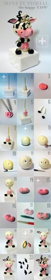Happy cow tutorial - cake by Crin sugarart
