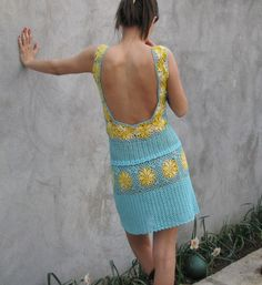 A soft blue and yellow hand crochet dress by kovale on Etsy, $128.00