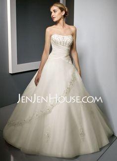 Wedding Dresses - $196.29 - A-Line/Princess Sweetheart Chapel Train Satin  Tulle Wedding Dresses With Lace  Beadwork (002011511) http://jenjenhouse.com/A-line-Princess-Sweetheart-Chapel-Train-Satin--Tulle-Wedding-Dresses-With-Lace--Beadwork-002011511-g11511